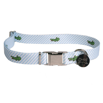 Southern Dawg Seersucker Blue with Alligators Premium Dog Collar