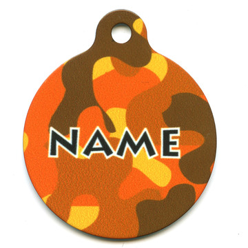Orange Camo HD Pet ID Tag