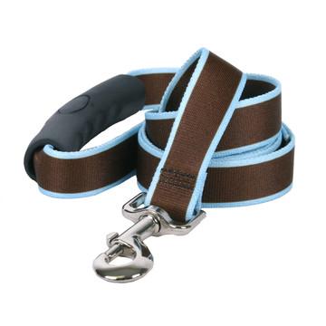 Sterling Stripes Brown and Light Blue Dog Leash