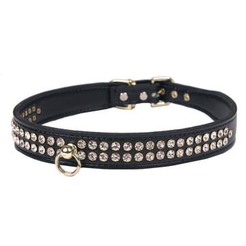 Leather 2-Row Crystal Dog Collar