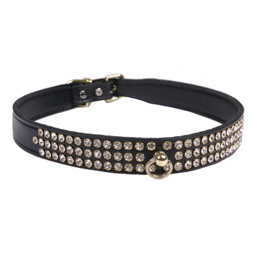 Leather 3-Row Crystal Dog Collar