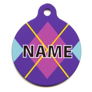 Purple Argyle Plaid HD Pet ID Tag
