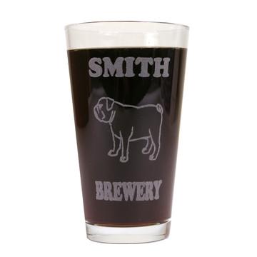 Personalized Pint Glass Beer Mug - Bulldog (