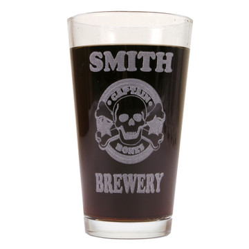 Personalized Pint Glass Beer Mug - Captain Bones