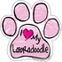 I Love My Labradoodle PINK Scribble Paw Magnet