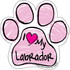 I Love My Labrador PINK Scribble Paw Magnet
