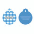 Gingham Blue HD Pet ID Tag
