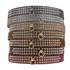 Color Leather 3-Row Crystal Dog Collar