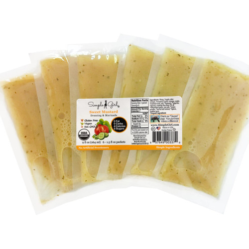 Simple Girl Organic Sweet Mustard Salad Dressing - 6 single serve packets