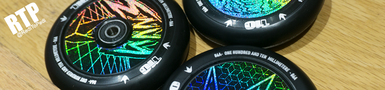 Envy Hologram Hollow Core Scooter Wheels are available in both 110mm and 120mm wheel sizes.
