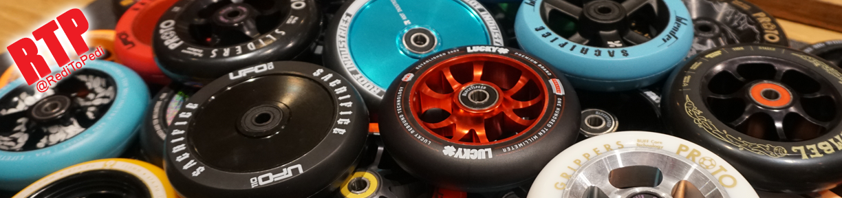 Pro Scooter Wheels come in 100mm, 110mm, 120mm, 125mm and various colors.