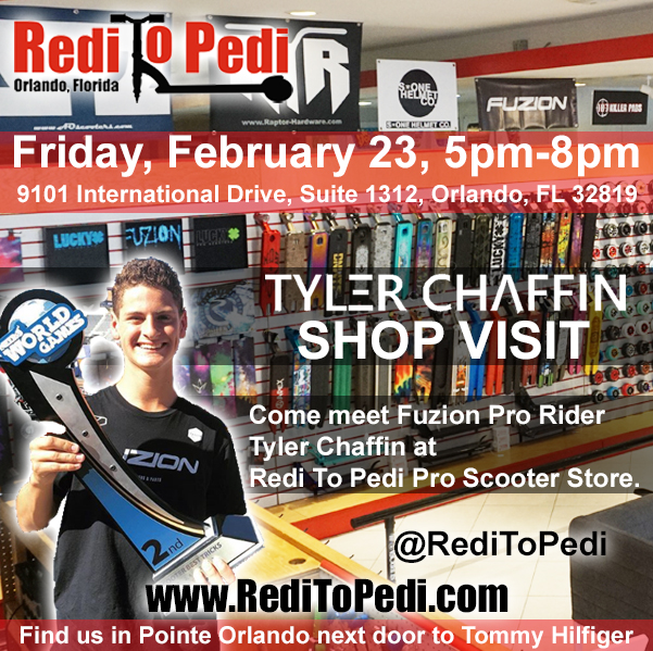 PRO SCOOTER EVENT:  Tyler Chaffin visits Redi To Pedi Pro Scooter Store in Orlando, Florida.