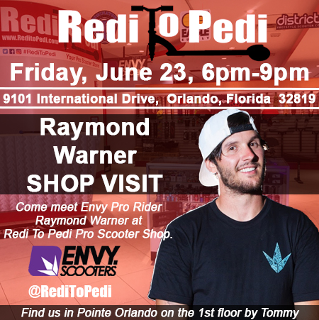 Envy Pro Scooter Rider Raymond Warner visits Redi To Pedi Pro Scooter shop in Orlando, Florida.