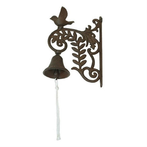 Cast Iron Bell on Decorative Wall Mount Post with Bird Accent