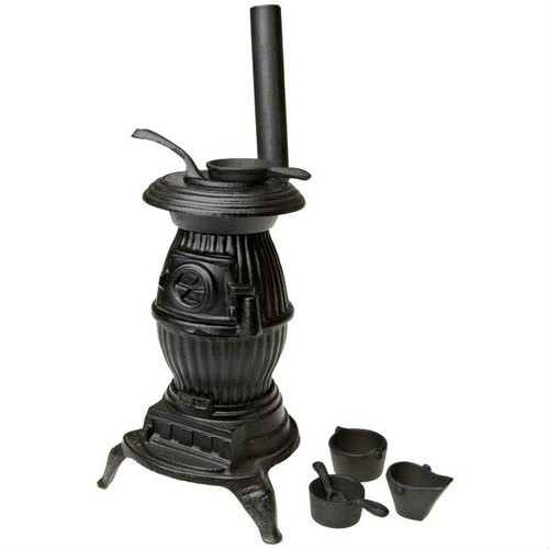 Old Mountain Miniature Cast Iron Pot Bellied Stove with Pots and Pans