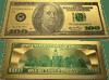$100 Benjamin Franklin Colorized Gold Foil Polymer Replica Banknote Series 1976