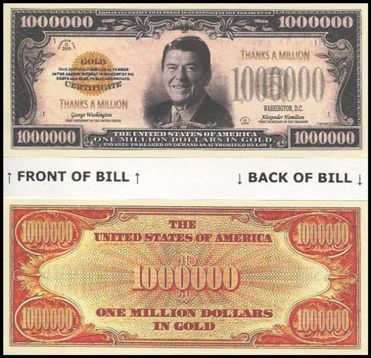 President Ronald Reagan Thanks A Million Memorial Novelty Commemorative Dollar Bill First Day Covers Online