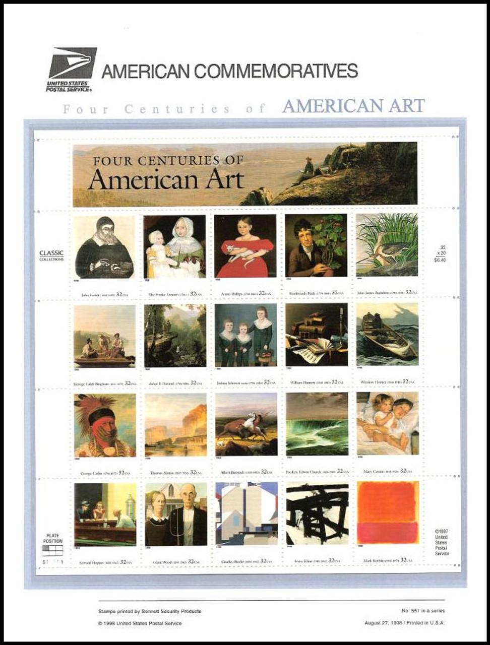 3236 / 32c Four Centuries of American Art Pane of 20 ( 2 Panel Set ) 1998 USPS American Commemorative Panel Sealed #551
