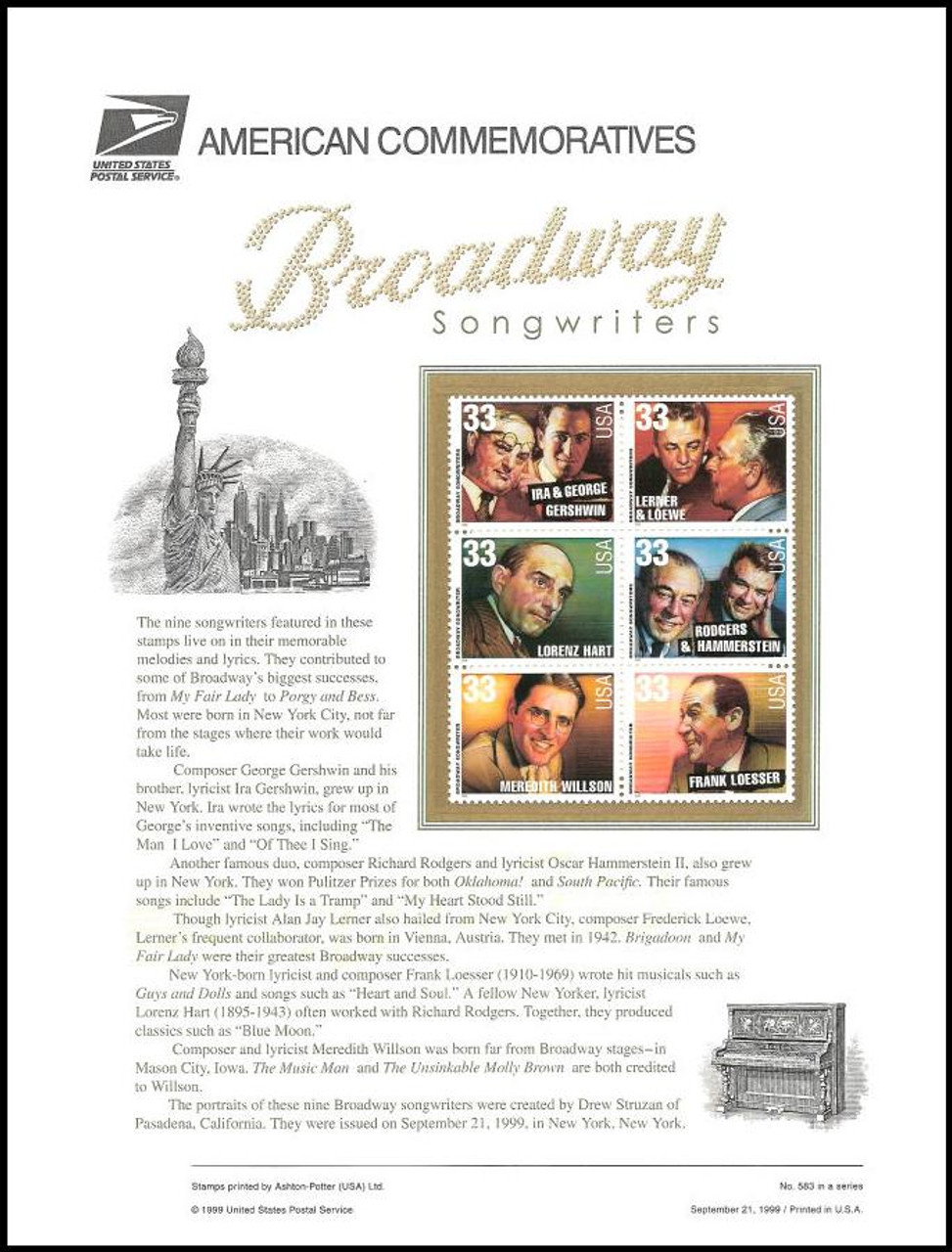 3345 -3350 / 33c Broadway Songwriters 1999 USPS American Commemorative Panel Sealed #582