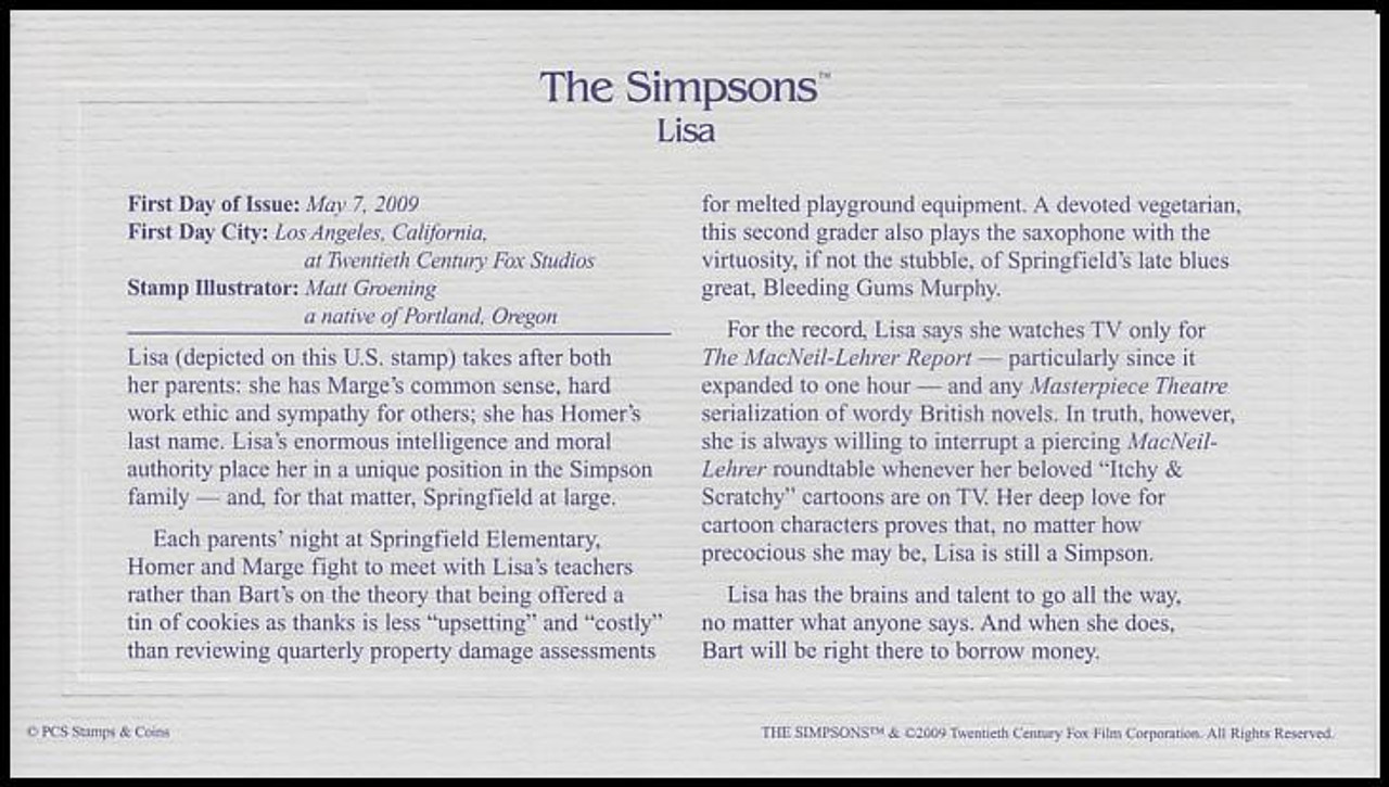 4399 - 4403 / 44c The Simpsons Set of 5 Gold Replica 2009 Postal Commemorative Society FDCs with Info Cards