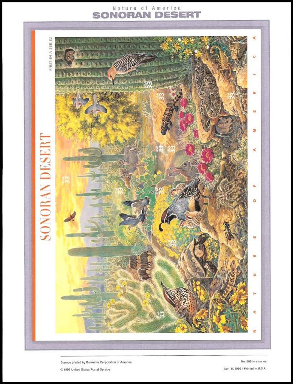 3293 / 33c Sonoran Desert Sheet of 10 ( 2 Panel Set ) 1999 USPS American Commemorative Panel Sealed #566