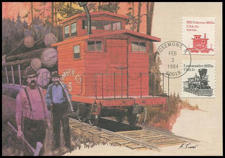 1905 / 11c Railroad Caboose 1890s 1984 Fleetwood Maximum Card