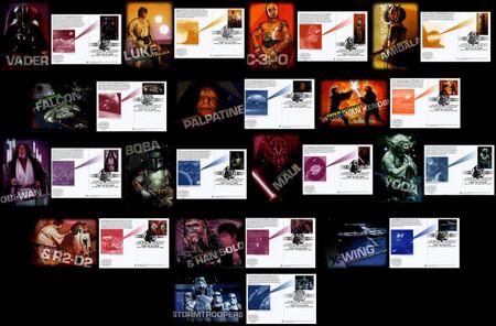 UX489 - UX503 / 26c Star Wars Set of 15 Fleetwood 2007 Postal Cards FDCs