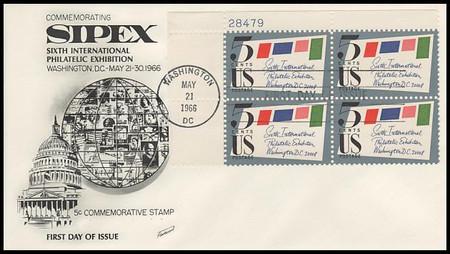 1310 / 5c Sipex Plate Block Upper Left 1966 Fleetwood FDC