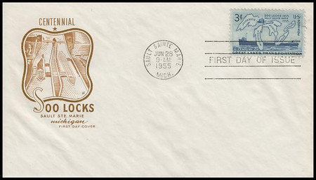 1069 / 3c Soo Locks Centennial House Of Farnam 1955 FDC (WATER STAINS, SEE IMAGE)
