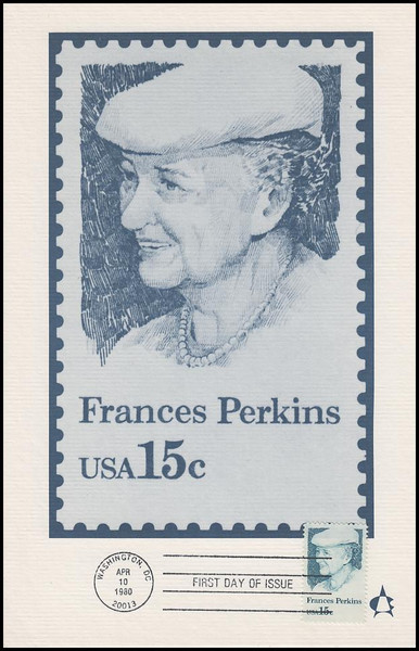 1821 / 15c Frances Perkins 1980 Andrews Cachet Maxi Card FDC