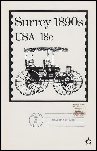 1907 / 18c Surrey : Transportation Series 1981 Andrews Cachet Maxi Card FDC