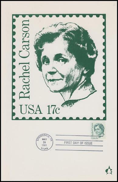 1857 / 17c Rachel Carson : Great Americans Series 1981 Andrews Cachet Maxi Card FDC