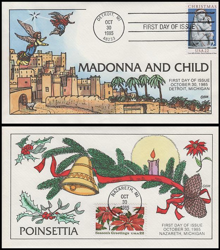 2165 - 2166 / Christmas Religious and Poinsettia Set of 2 Collins Hand-Painted 1985 First Day Covers
