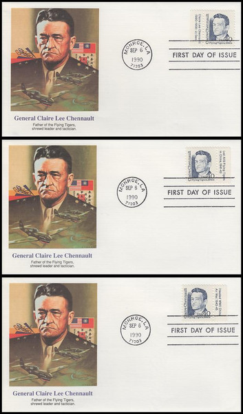 2187 / 40c Claire Lee Chennault - Flying Tigers : Great Americans Series Tab Set of 3 Fleetwood 1990 FDCs