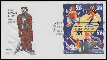 2750 - 2753 / 29c Circus Se-Tenant Block Cover Craft Cachet 1993 FDC With Insert Card