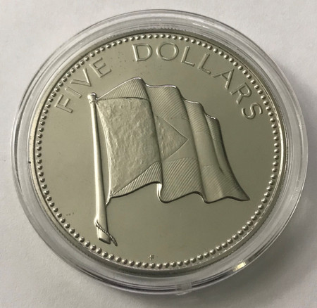 1976 $5 Bahamas 1.25 oz Silver Proof Coin In Capsule KM# 67a