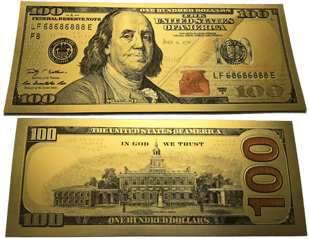 $100 Benjamin Franklin Colorized Gold Foil Polymer Replica Banknote Series 2009