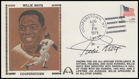 Willie Mays Hall Of Fame Induction 1979 with Autograph Gateway Stamp Silk Cachet Event Cover