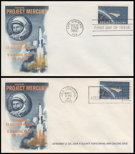 1193 / 4c Project Mercury and Glenn Homecoming 1962 Fleetwood FDC and Event Cover