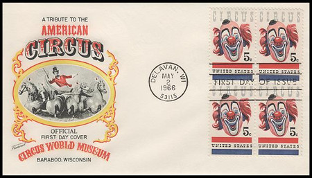 1309 / 5c American Circus : Clown Block 1966 Fleetwood FDC with Info Card