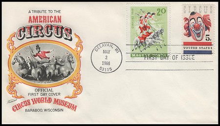 1309 / 5c American Circus Combo 1966 Fleetwood First Day Cover