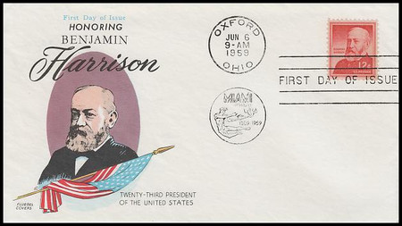1045 / 12c Benjamin Harrison : Liberty Series 1959 Fluegel First Day Cover