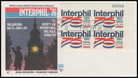 1632 / 13c Interphil '76 Plate Block Fleetwood 1976 First Day Cover