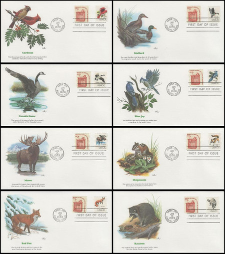 1757a - h / 13c CAPEX Wildlife Set of 8 with Pamphlet Fleetwood 1978 First Day Covers