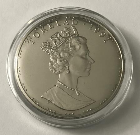 1991 $5 Tala Tokelau - Pearl Harbor Anniversary Coin In Capsule KM# 11