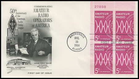 1260 / 5c Amateur Radio Upper Left Plate Block Fleetwood 1964 First Day Cover