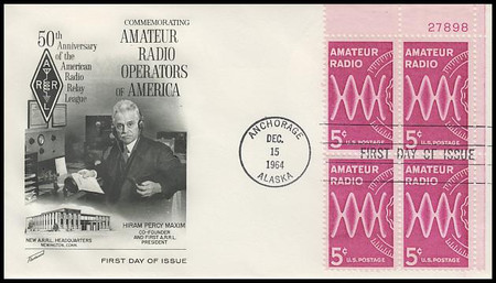 1260 / 5c Amateur Radio Upper Right Plate Block Fleetwood 1964 First Day Cover