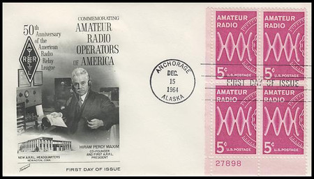 1260 / 5c Amateur Radio Lower Left Plate Block Fleetwood 1964 First Day Cover
