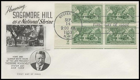 1023 / 3c Sagamore Hill Plate BLock Fleetwood 1953 First Day Cover