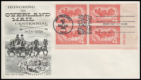 1120 / 4c Overland Mail Plate Block Fleetwood 1958 First Day Cover